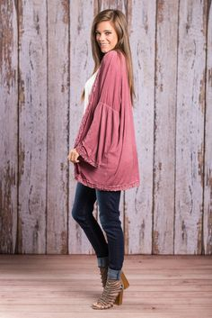 """""""Bohemian Cardigan - Ruffle Trim , Wine""""Cozy up this fall with this cardi! It's the perfect weigh for the season! It's light but not so light it's sheer. The jersey knit fabric is so soft and comfy you will want to wear this trendy cardi as much as possible!"""