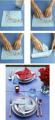 The Pinwheel Napkin 28 Creative Napkin-Folding Techniques Iris: love napkins folded in new ways. Table Presentation, Paper Crafts, Diy Crafts, Napkin Folding, Cloth Napkins, Decoration Table, Pinwheels, Fourth Of July, Party Planning