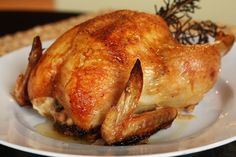 """""""Savory Turkey Brine"""" is a easy brine gets half its portion of its salt from… Baked Whole Chicken Recipes, Best Roasted Chicken, Perfect Roast Chicken, Roast Chicken Recipes, Turkey Recipes, New Recipes, Dinner Recipes, Favorite Recipes, Best Thanksgiving Turkey Recipe"""