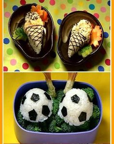 love the soccerballs! Japanese Lunch Box, Bento Box, Kid Friendly Meals, Kids Meals, Nom Nom, Goodies, Ice Cream, Pudding, Baking