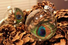 Peacock Feather Ornament | 39 Ways To Decorate A Glass Ornament