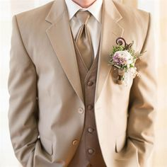 Holy crap! This is the color suit! With a purple tie and boutonniere.  Champagne colored for the best man!