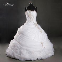 2016 New Style Custom Made Ruffled Beading Ball Gown White Wedding Dresses Bridal Gown RQ119 on http://ali.pub/ki8x7