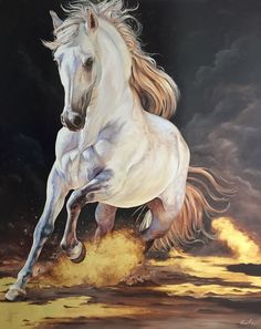 White Horse Painting, Horse Oil Painting, Pretty Horses, Beautiful Horses, Arte Equina, Figurative Kunst, Horse Artwork, Horse Drawings, White Horses