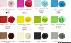 Paleta barev party pompomu z e-shopu www.pompomtime.cz