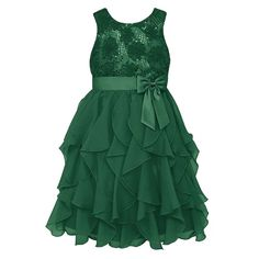 Girls 7-16 & Plus Size American Princess Floral Sequin Soutache Ruffle Dress, Size: 16 1/2, Dark Green