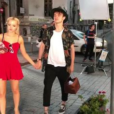 "Dove Cameron & Thomas Doherty on highstrungmovie's Instagram. ""@thomasadoherty and @dovecameron sneaky scene stealing on set """