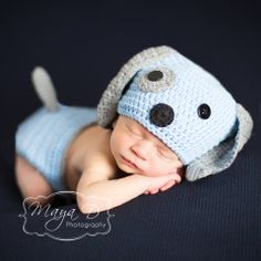 Baby Blue Puppy Dog Hat and Diaper Cover Set  This Baby Blue Puppy Dog Hat and Diaper Cover Set from Melondipity is so perfect for a brand new baby boy! We love the new blue and grey color twist with this puppy hat and diaper cover set! This puppy dog is a beautiful shade of baby blue with grey accents. He has a cute black yarn nose and black button eyes.  $22.99 USD