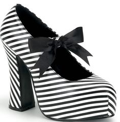 Black White Platform Pumps by Demonia Shoes. Black and white stripe Demonia Mary Janes with black ribbon and chunky platform heel. Rock Chick, Pin Up Shoes, Me Too Shoes, Crazy Shoes, Fab Shoes, Awesome Shoes, Goth Shoes, Shoes Heels, High Heels