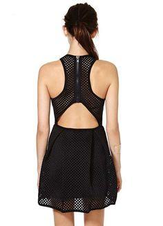 Black Cut Out Zipper Back Mesh Contrast Dress