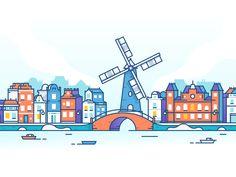 House Illustration Simple Graphic Design 59 Ideas For 2019 Forest Illustration, House Illustration, Graphic Illustration, Vector Illustrations, City Vector, Vector Art, Amsterdam Skyline, Amsterdam Art, Amsterdam Travel