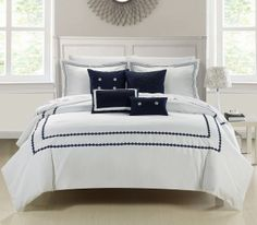 Chic Home Mandalay Embroidered Comforter Set, King, Navy Queen Comforter Sets, Bedding Sets, Online Bedding Stores, Bed In A Bag, White Bedding, New Room, Navy And White, Navy Blue, Bedroom Furniture