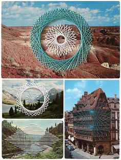 string art over photos/postcards by shaun kardinal {weekend brunch post on the jealous curator} Diy Art, Illustrations, Illustration Art, Paper Embroidery, Geometric Embroidery, Embroidery Ideas, Web Design, Thread Art, Old Postcards