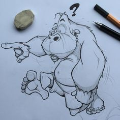 "87 Likes, 4 Comments - DannyOuwehand (@danny_illustrations) on Instagram: ""Bigfoot jumping around... #sketch #drawings #cartoons #comicart #comicbook #cartoonist #characters…"""