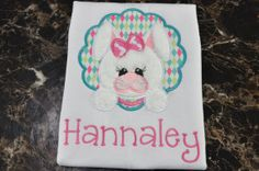 Girl Bunny Applique Kids Shirt  Kids by TCPassionateStitches, $20.00