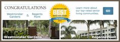 be.group highlights its Top-Rated Communities with its 2013 Best Senior Living Awards badge. Congrats to Westminster Gardens and Regents Point!