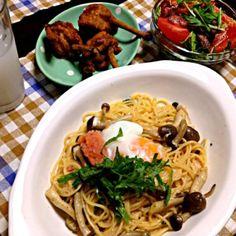 友達と夜ご飯♡ - 7件のもぐもぐ - たらこスパ.カレー風味から揚げ.水菜サラダ by Kyo630