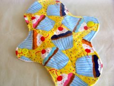 7 Inch Light Cloth Menstrual Pad/Liner in Cupcakes and Sprinkles/White Fleece, $4