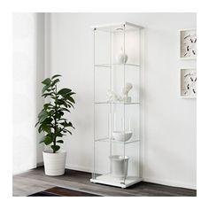 DETOLF Glass-door cabinet, white white 43x163 cm