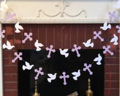 Christening Cross and DOVE Garland - Baptism decorations - First Communion Garland - RELIGIOUS Baby Dedication Decor - Your Color choice from anyoccasionbanners First Communion Decorations, First Communion Party, First Holy Communion, Girl Baptism Decorations, Backdrop Decorations, Heart Decorations, Valentines Day Decorations, Baby Baptism, Baptism Party