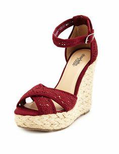 Crochet X-Front Jute Wedge Sandal: Charlotte Russe