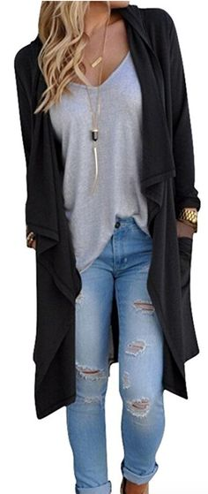 Women's Solid Lightweight Knitted Open Front Long #sweater #fashion2017 Trench Coat Cardigan Affiliate Link #FallFashion #boutiquestyle #boutiqueclothing Style OOTD #OOTD #StreetStyle