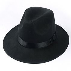 Medium Vintage Style Men s Hard Felt Wide Brim Fedora Trilby Panama Hat b1f0765b7257