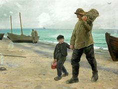 Father And Son In Skagen - Michael Peter Ancher (1849 – 1927, Danish)