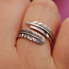 925 Sterling Silver Ring Antiqued Angel Feather Handcrafted Adjustable Size &Box