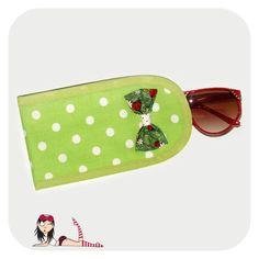 Porta Óculos Verde Poá Branco - Cookie Plushie