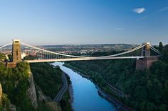 Clifton Suspension Bridge, Bristol, UK - Spanning the Avon Gorge, and connecting Clifton Village to the leafy environs of Stoke Bishop, Ashton Court and Leigh Woods, the Clifton Suspension Bridge was designed by Isambard Kingdom Brunel.