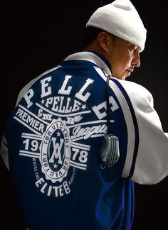 4d3bd95c27f French Montana in the Premier League Wool Jacket. Pelle Pelle