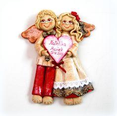 anioły z masy solnej, anioły z dedykacją, anioły ślubne, salt dough angel