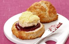 Gluten-free scones - Enjoy afternoon tea with these tasty scones. And if you find it tricky rolling out crumbly gluten-free flour mixture, use an ice-cream scoop! Gluten Free Scones, Gluten Free Baking, Healthy Baking, Gluten Free Recipes Uk, Healthy Food, Tea Recipes, Baking Recipes, Dessert Recipes, Desserts