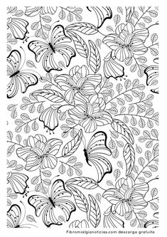 Free coloring page coloring-adult-butterflys. Another image to print and to color filled with pretty leaves, flowers and butterflies . certainly an interesting adult coloring page to achieve Adult Coloring Pages, Insect Coloring Pages, Coloring Pages For Grown Ups, Butterfly Coloring Page, Colouring Pics, Mandala Coloring, Printable Coloring Pages, Coloring Sheets, Coloring Books