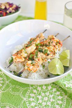 Grilled Garlic and Lime Shrimp Skewers
