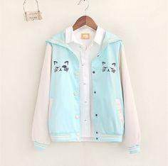 Pink/Blue Kawaii Cat Jacket Coat SP153090