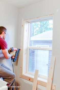 repair interior Are you wondering how to install window trim Use this DIY tutorial to add interior trim to your home on a budget. Craftsman Window Trim, Interior Window Trim, Black Interior Doors, Outdoor Window Trim, Outdoor Curtains, Diy Shutters, Repurposed Shutters, No Closet Solutions, Store Interiors