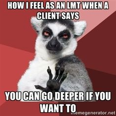 How I feel as an LMT when a client says You can go deeper if you want to  | Chill Out Lemur