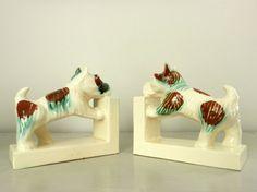 Vintage Bookends Scottie Dogs Ceramic