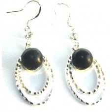 """Earrings is made of light metal with shungite stone - """"Lubava""""."""