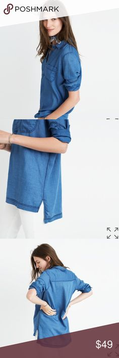 Madewell Indigo Popover Top Chambray PRODUCT DETAILS An easy, slip-it-on shirt in jeans-friendly indigo. * Slightly oversized fit. * Cotton. * Machine wash. * Retails $79.50 * Medium size sold out online. * New with tag, never worn. Chambray/Denim look Madewell Tops