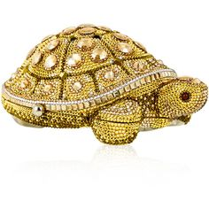 Judith Leiber Couture Crystal-Embellished Turtle Clutch Bag ($4,395) ❤ liked on Polyvore featuring bags, handbags, clutches, handbags clutches, yellow, yellow handbags, white beaded purse, beaded purse, judith leiber minaudiere and hand bags