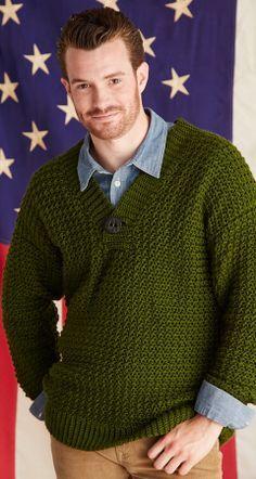 Ravelry: Iowa Sweater pattern by Amanda Saladin Crochet Men, Crochet Jumper, Diy Crochet, Crochet Crafts, Crochet Stitches, Crochet Patterns, Sweater Patterns, Sweater Shirt, Men Sweater