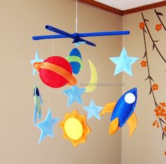 Customize Baby Mobile - Planet, Rocket and Moon Theme Nursery Crib Mobile (Choose your color) Baby Mobile Felt, Baby Crib Mobile, Baby Cribs, Felt Crafts, Diy And Crafts, Diy For Kids, Crafts For Kids, Diy Rocket, Nursery Crib