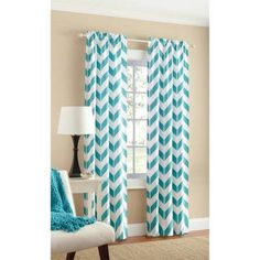 Mainstays Chevron Polyester/Cotton Curtain With BONUS Panel Available In Multiple Colors And Sizes - Walmart.com