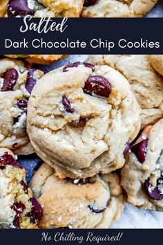 This Salted Chocolate Chip Cookie recipe is the best treat for any occasion including holidays, birthdays, or for a school treat. Packed with dark chocolate chips and topped with a hint of sea salt these cookies are easy and require no chilling. Chip Cookie Recipe, Easy Cookie Recipes, Dessert Recipes, Baking Desserts, Recipes Dinner, Pasta Recipes, Crockpot Recipes, Soup Recipes, Chicken Recipes