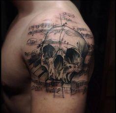 50 Music Staff Tattoo Designs For Men - Musical Pitch Ink Ideas Music Staff Tattoo, Music Tattoos, Note Tattoo, Tattoo You, Skull Tattoo Design, Tattoo Designs Men, Dream Tattoos, Cool Tattoos, Awesome Tattoos