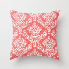 Coral Damask Throw Pillow $20.00 Cute with a neutral color/ gray