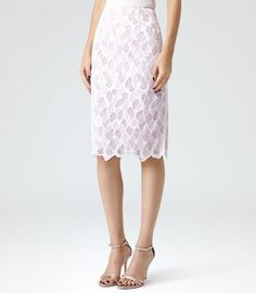 Joliet FLORAL LACE PENCIL SKIRT